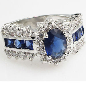 Blue Sapphire Silver Filled Ring